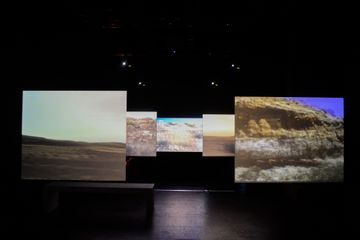 Now, 2015 8 channel, HD Video installation, colour, five sound tracks mono and stereo.  Courtesy the artist and Marian Goodman Gallery ©photo: Galerie Marian Goodman (for installation views)  ©photo: Chantal Akerman (for the stills).