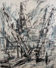 Jeannette Barnes, 'Cranes on Thames from Blackfriars', ink on canvas, 2014