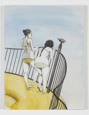 Charles Avery, Untitled (Two girls on balcony), 2016