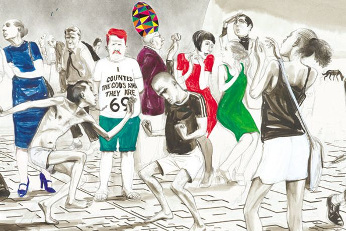 Charles Avery, Detail of 'Untitled (Dancers outside the MoA, Onomatopoeia)' 2012, pencil, ink, acrylic and gouache on paper, 83.5 x 114 cm (image size) Private collection. Image courtesy of the artist and Ingleby Gallery, Edinburgh