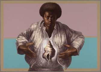Charles White. Sound of Silence. 1978. Color lithograph on paper, 25 1/8 × 35 5/16 (63.8 × 89.7 cm). Publisher: Hand Graphics, Ltd. Printer: David Panosh. The Art Institute of Chicago. Margaret Fisher Fund. © 1978 The Charles White Archives