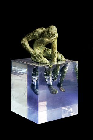 Fernando Suarez, Sentado en cubo, bronze and resin, 15 x 15 x 27cm, edition of 7.