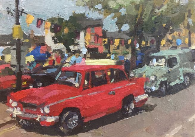 Red Car (oil on board) Amanda Coleman CAS