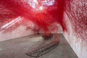Chiharu Shiota, Installation View Uncertain Journey 2016 Courtesy the artist and Blain|Southern Photo: Christian Glaeser