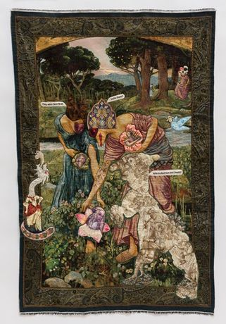 China Marks Ripe For The Picking, 2017 Fabric, lace, thread, glass beads, Jade glue, fusible adhesive on a contemporary tapestry copy of 'Gather Ye Rosebuds While Ye May' by John William Waterhouse 55 x 36 inches