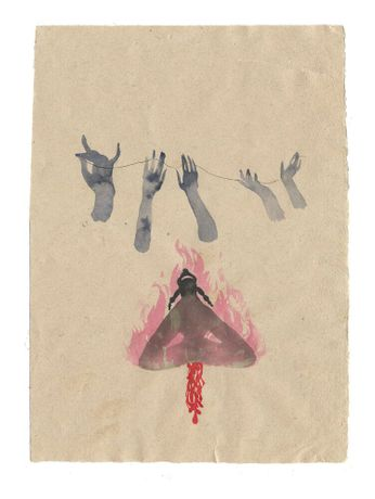 Chioma Ebinama Chioma Ebinama  Free bleeding on a mountain, 2019  Watercolor on handmade Indian recycled cotton rag paper  8 7/8 x 12 5/8 in 22.5 x 32.1 cm