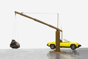 Chris Burden, Porsche with Meteorite, 2013 Restored 1974 Porsche 914, 390-pound meteorite, and steel structure © Chris Burden/Licensed by the Chris Burden Estate and Artists Rights Society (ARS), New York