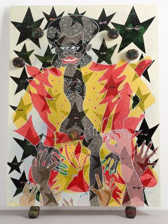 Cover Image:  Chris Ofili, The Adoration of Captain Shit and the Legend of the Black Stars (Third Version), 1998. Oil, acrylic, polyester resin, paper collage, glitter, map pins, and elephant dung on linen, 96 × 72 in (243.8 × 182.8 cm). Courtesy Victoria Miro Gallery, London. Photo: Stephen White