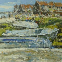 Boats & Bustle, Blakeney Acrylic on Canvas Panel by Chris Prout