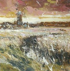 Evening Sky at Cley, Chris Prout, Acrylic on Panel 40 x 40cm