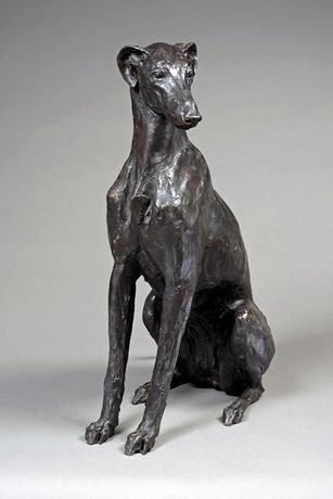 Sitting Greyhound-Lurcher, Stuart Anderson, Bronze