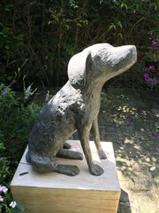Seated Dog, cast bronze, 64cm high, edition of three, by Christopher Marvell
