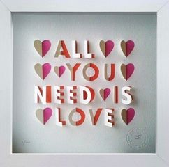 Kim Clayton's All You Need is Love handcut paper artpiece in white box