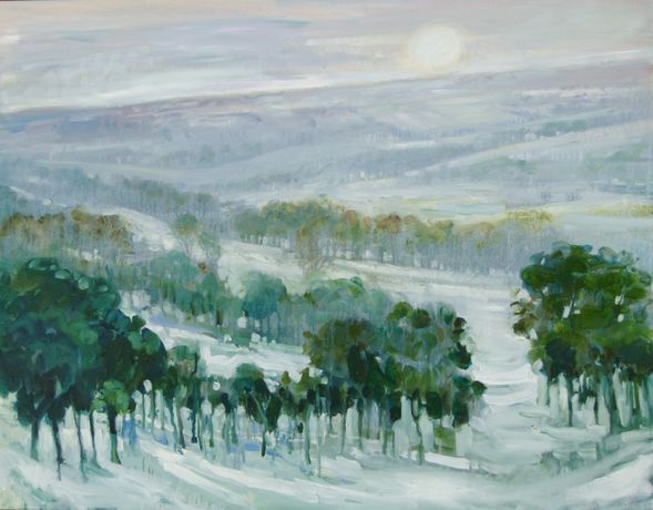 Golden Valley in Snow, Oil on Canvas, Ronald Moore