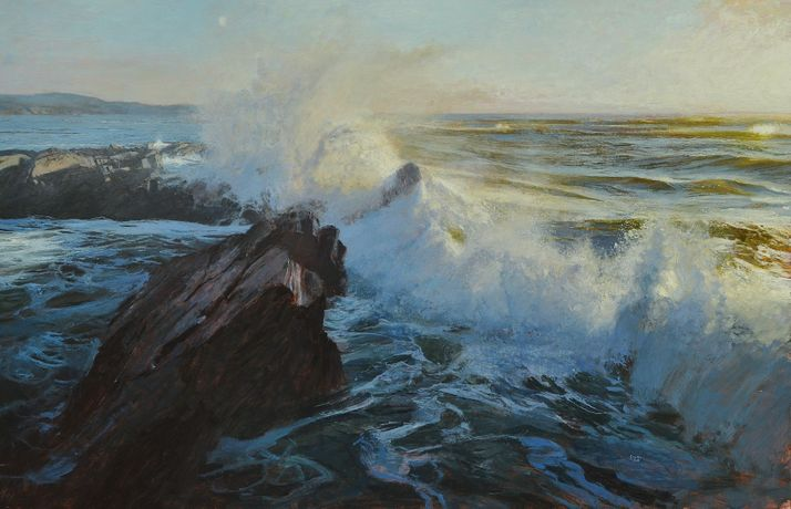 Ramsay Gibb, Evening light on surf, Islay. 90.5 x 58