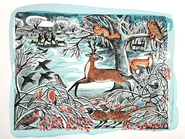 Winter Woodland, Lino & Screenprint by Angela Hardin