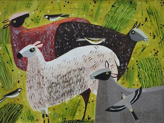 Sheep and Wagtails by Mary Sumner