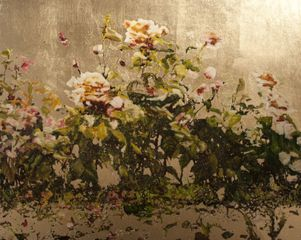 Jack Frame, Roses on Gold, Oil on board & gold leaf
