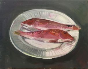 Still Life Red Mullets by Tom Farthing 36 x 46 cm