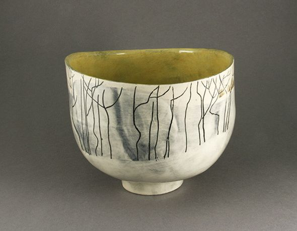 Pirton Fields with Hedges, Footed Bowl by Anna Lambert