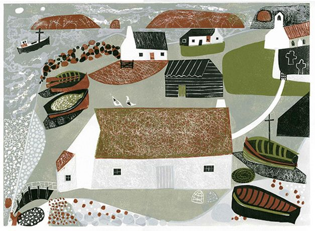 The Edge of the Sea, Linocut by Melvyn Evans