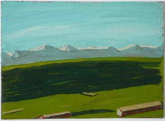 'Shadow in front of Mountain Range' - oil on card - 16 x 22 cm