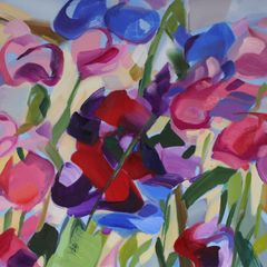 Shona Barr 'Sweet Peas' Oil on canvas 28x28ins