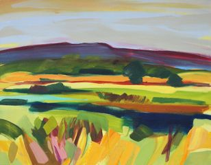 Shona Barr 'Dorset Landscape' Oil on canvas 28x32ins