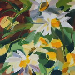 Shona Barr 'Daisies' Oil on canvas 20x20ins