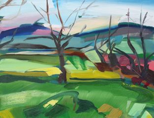 Shona Barr 'Winter Green' Oil on canvas 16x20ins