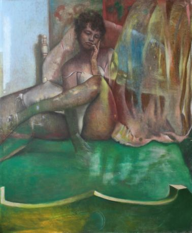 Chuck Walker, Untitled, Girl on Bed, 2019. Oil on canvas, 64 x 50 inches