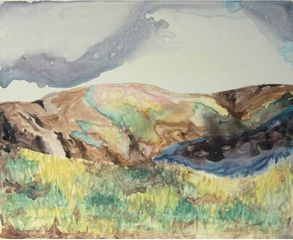 Rainbow Mountain ii, watercolour on board