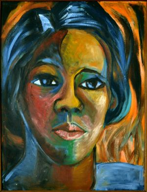 Sybil Atteck, Self Portrait , c.1970. Oil on board, 28 x 22 in. © Helen Atteck
