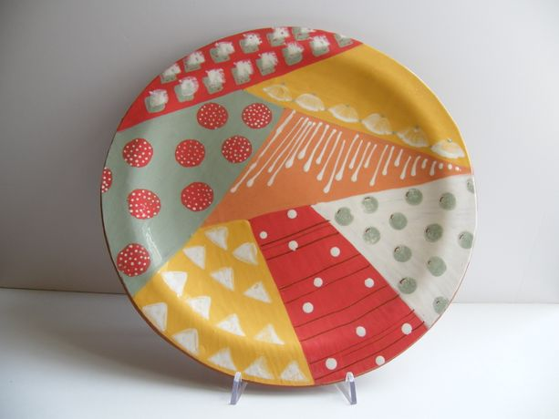 Patchwork Ceramic Platter by Julie Barham