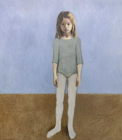 Claerwen James. Girl in a Leotard Against Pale Blue, 2018