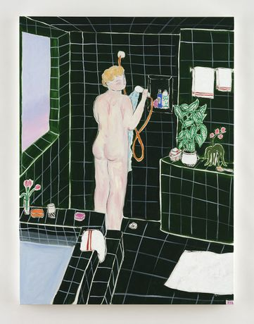 Claire Milbrath. Green Shower, 2020. Oil on canvas, 40 x 30 inches (101.6 x 76.2 cm)