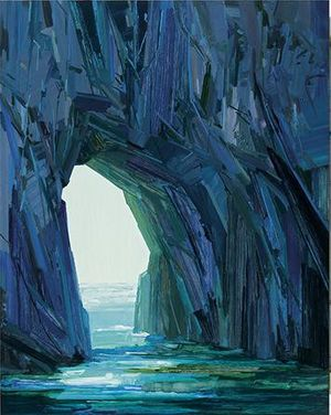 Claire Sherman. West Ridge: Sea Cave, 2016, oil on canvas, 84 x 66 inches