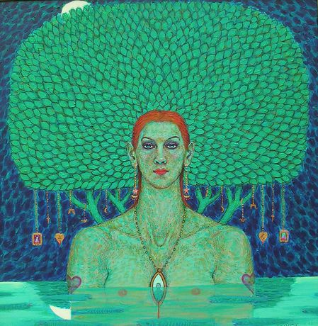 June Carey 'The Night Pool' Acrylic and mixed media