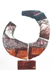 'Fractured' hand inked collagraph with copper leaf