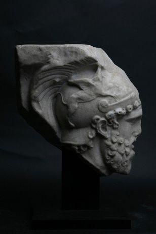 Roman relief fragment depicting the head of Mars 2nd century AD, Marble Courtesy of Rupert Wace Ancient Art