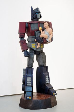 Cristi Pogăcean: Optimus Prime | 2014 | Carved wood and paint | 200 × 80 × 70 cm