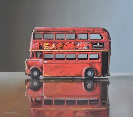 Lucy McKie ROI, Old Toy Bus on Glass