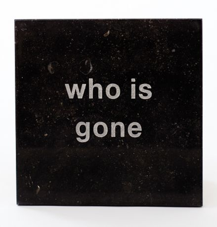 Who is gone, 2014, Vintage Belgium Black marble, 30 x 30 x 3 cms