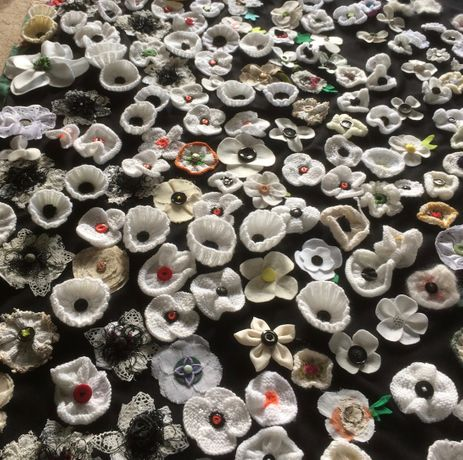 Just a few of the poppies being assembled for the installation