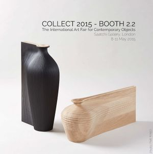 Zaha Hadid and Gareth Neal, Tall Black Vessel and Low Oak Vessel, 2014. Photo Credit Petr Krejci