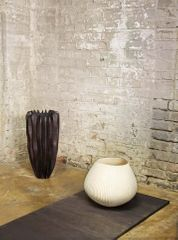 10 Beech B16 by Marc Ricourt, 114 Fluted Vessel by Liam Flynn, represented by Sarah Myerscough Gallery. Photography by Angela Moore, styling by Despina Curtis.