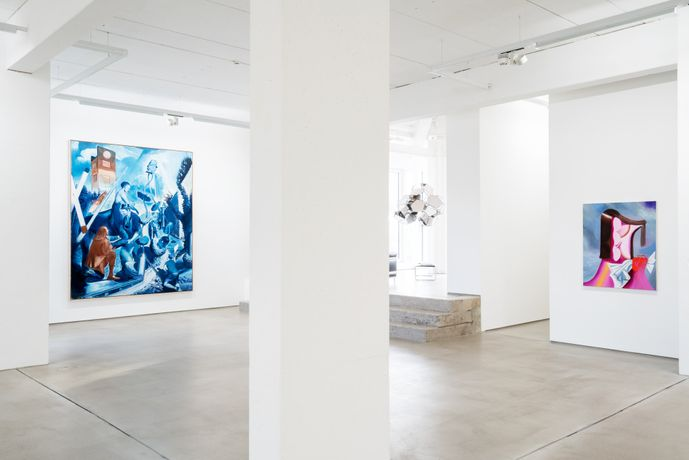 Installation view of G2 Kunsthalle with artworks from the Hildebrand Collection by Neo Rauch, Tomás Saraceno and Kristina Schuldt, photo: Dotgain.info © the artists & G2 Kunsthalle Leipzig