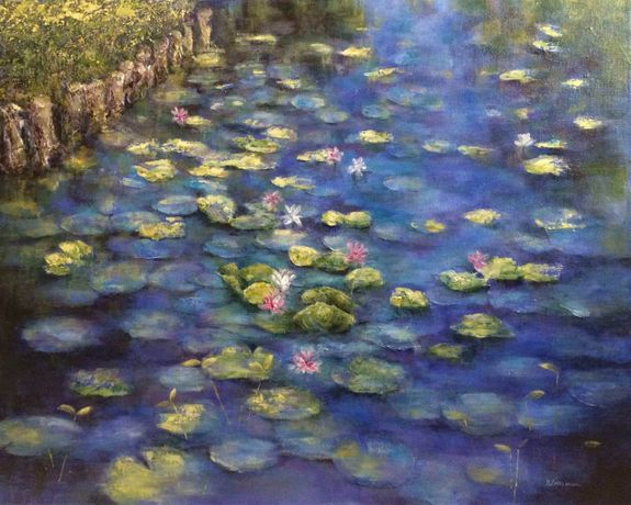 Nadia Lassman, Lily Pads, Acrylic on Canvas, 24'' 30''