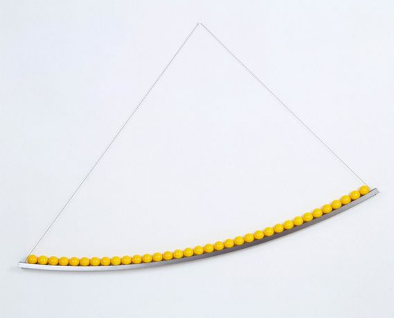 Cedric Christie, Yellow Curve, 2012, Steel and Snooker balls, 183 x 15 cm, 72 x 6 in