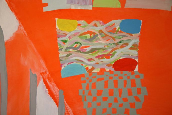 Jeff Dellow, Orange Fix (2015) Acrylic on canvas, 72 x 92cm. Photo: Jermaigne Sadie